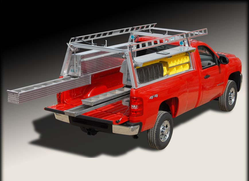 Pick up truck ladder rack / truck rack w truck tool boxes and drawers